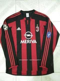 Ac milan home kit long sleeve jersey 03/04
