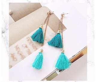 Double turquoise tassels earrings