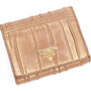 Authentic Metallic gold PRADA Nappa Gaufre Leather Wallet