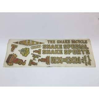 Vintage Bicycle Snake Sports Stickers