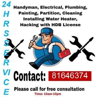 Plumbing services (chocked , clogged clear, Electrical, carpentry, flooring, handyman, painting, cleaning all in all)