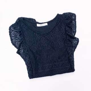 ♥ Lowrys Farm Solid Black Lace Top