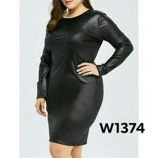Long sleeve leather dress W1374