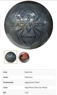 CHEAP $160!!! PROFESSIONAL TOP OF THE LINE LIMITED EDITION BLACK WIDOW PLATINUM BOWLING BALL EVER MADE BY HAMMER!!!