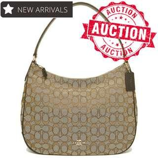 "🚚 Auction ""Like"" & ""Bid"" Authentic Brand New Coach Zip Shoulder Bag In Signature Jacquard From USA Suggested Retail: $565"