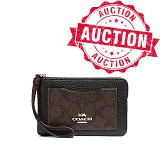 "Auction ""Like"" & ""Bid"" Authentic Brand New Coach Small Corner Zip Wristlet With Signature Pocket From USA Suggested Retail: $185"