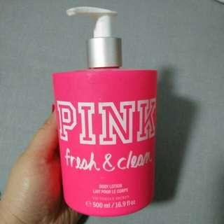 VS pink fresh and clean lotion with freebie