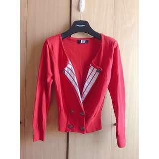 SLY beautiful red cardigan biker jacket coat blouse top shop river island moussy zara mango cos new look nice claup 日本名牌超靚紅色海軍款外套 褸 襯衫