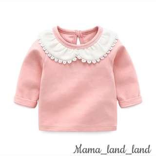 Lovely embroidered baby girlish cotton long sleeve Top