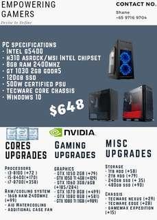 Custom gaming pc editing workstation gtx 1050 1060 1070 1080 ti