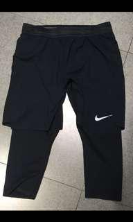 🚚 Nike 男生跑步兩件式跑酷(緊身七分➕短褲)