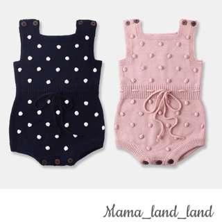 🍃🍁🍂Girlish knit baby Bodysuit with texture hairy ball