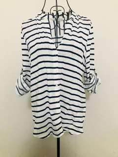 Forever New white & navy stripped shirt (brand new - never worn) (size 8)