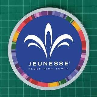 Custom Decal Order - Jeunesse Global (Reserve / MINDS / NV / Luminesce / Resveratrol / FINITI / Anti-Wrinkle cream).  Overall size: 115mm diameter. Free Normal Mail. Add $2.90 for AM Mail. $6 each / 3 for $15.