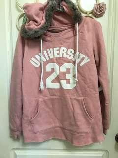 粉紅毛邊長版帽T