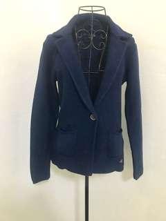 Stunning Dark Blue Fitted Blazer Woollen Cardigan (brand new - never worn) (size S)