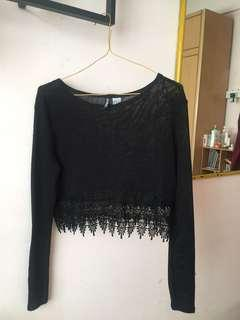 H&M Black Knitted Lace Top #MidSep50