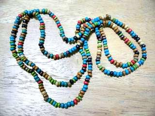 Long Necklace made of Wooden Beads