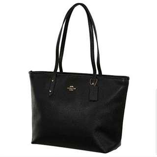 Coach city tote crossgrain leather handbag black