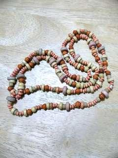 Long Necklace made of Wooden Beads in Baby Pink