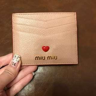 Miu miu leather card holder with love logo