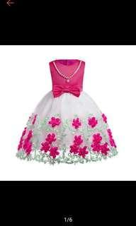 Girl Flower Dress Sleeveless Tie Tulle Wedding Party Dress