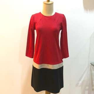 Monaco Red Color Block Dress