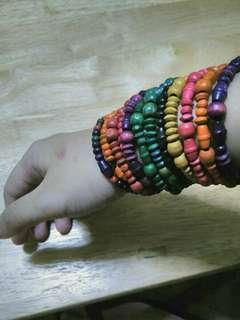 Wooden Rainbow Beads Bracelet Bundle