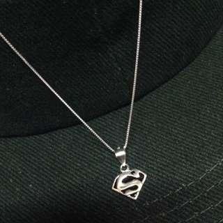 Genuine 925 Sterling Italy Silver Superman Necklace