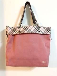 Burberry 粉紅色滾經典格紋標手提/肩背包