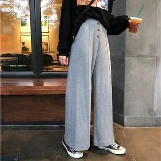 排釦挺版顯瘦顯腿長寬版喇叭棉褲