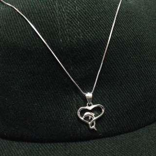 Genuine 925 Sterling Italy Silver Dolphin Heart Necklace
