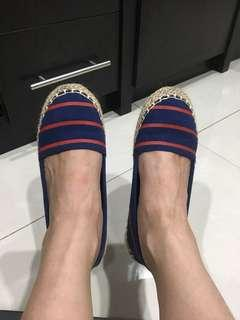 Women shoes espadrilles - Navy and Red textile