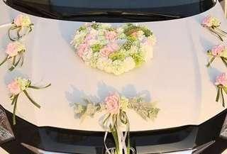 結婚花車車花套裝 Wedding car flower decor set
