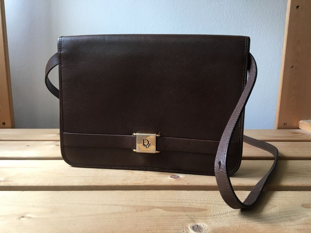 6277a2b87b7c Authentic Christian Dior Vintage Brown Sling Clutch Bag