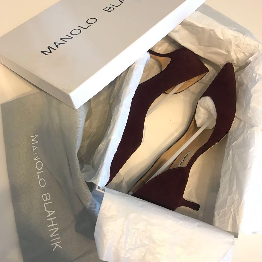 [Authentic] Manolo Blahnik Collina Dorsay pumps 50mm Burgundy size 38
