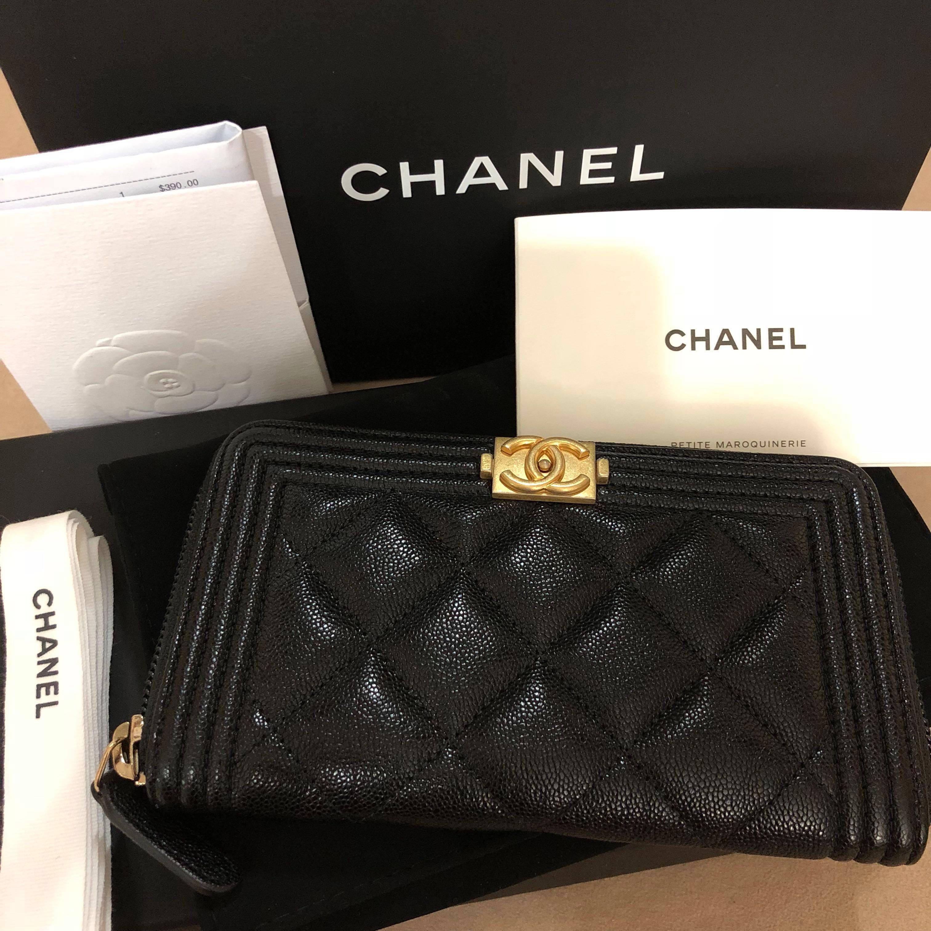 06d07bfff589 Chanel Boy Classic short zippy wallet, Luxury, Bags & Wallets, Wallets on  Carousell