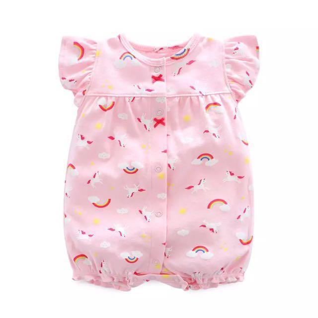4a83dc33b Cotton Baby Romper - Pink Unicorn and Rainbows [PO]