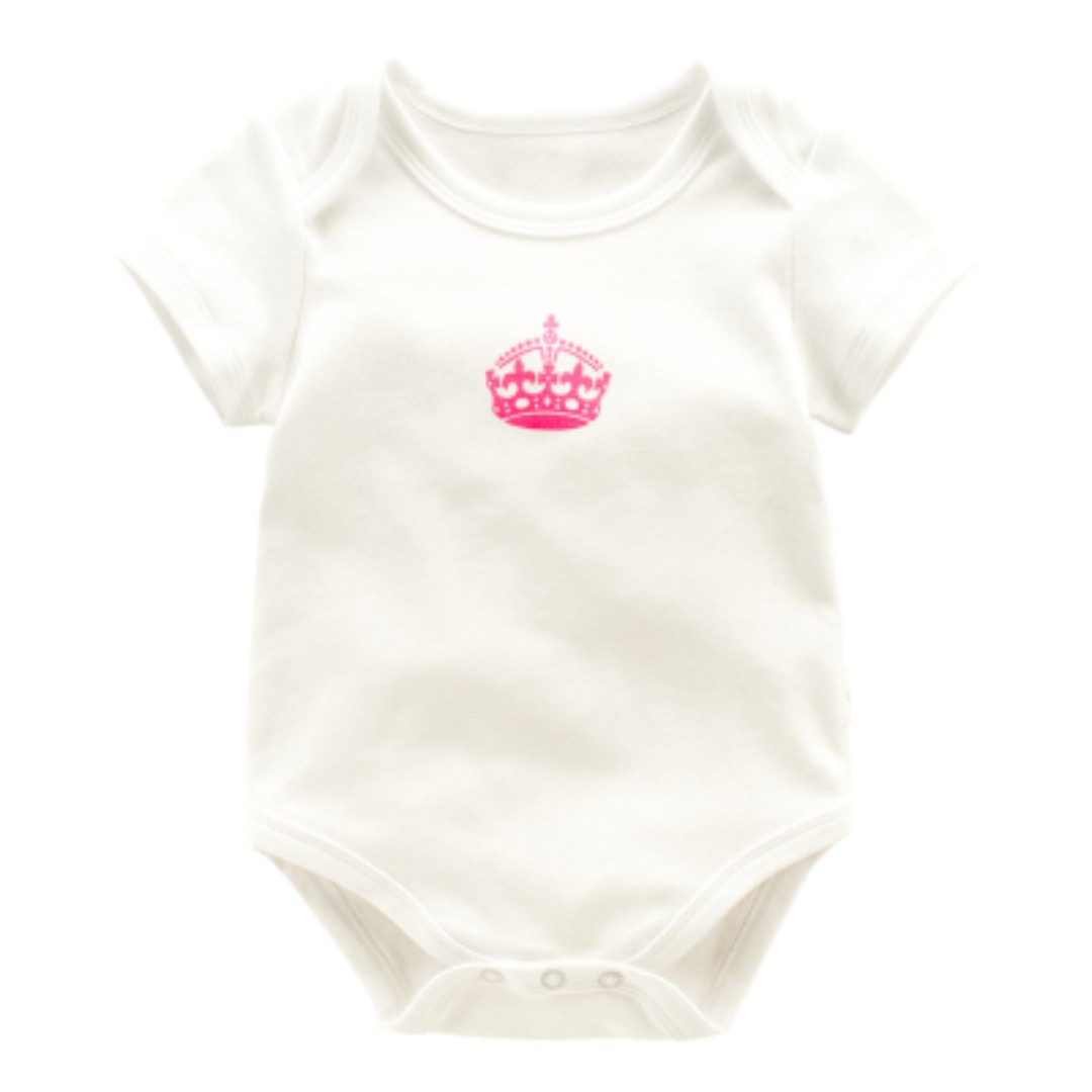 788065c7eb0 Cotton Baby Romper - White Romper with Crown [PO] / Newborn Onesies Baby  Girls Boys Fashion Dress Kids Children Clothing