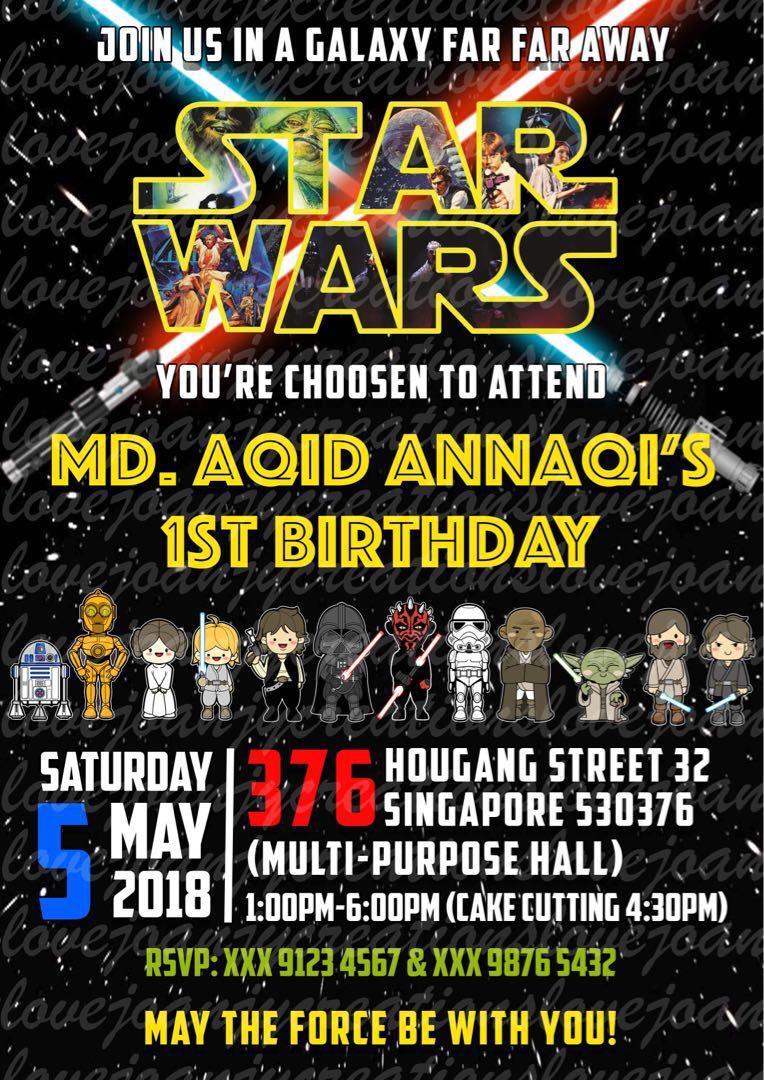 Customised Birthday E Invitation Starwars Design Craft Art
