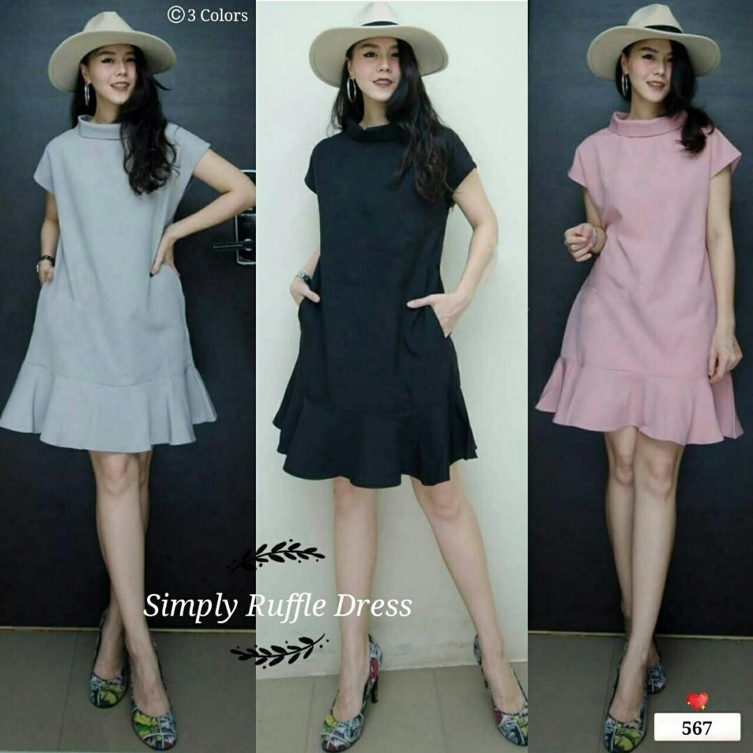 Dress wanita E 567 mini dress ruffle dress dress polos casual dress, Olshop Fashion, Olshop Wanita on Carousell