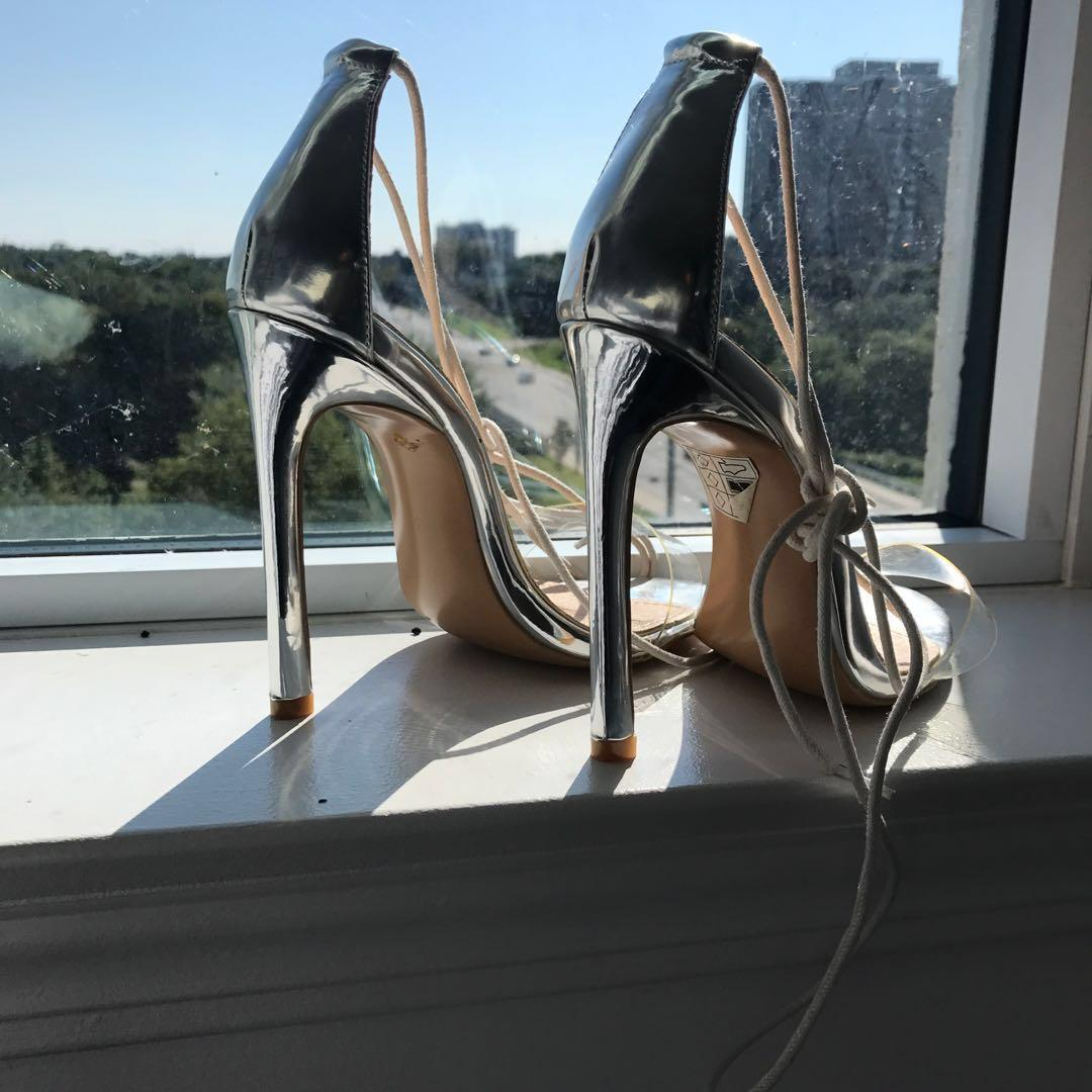 Ego official silver lace up heels