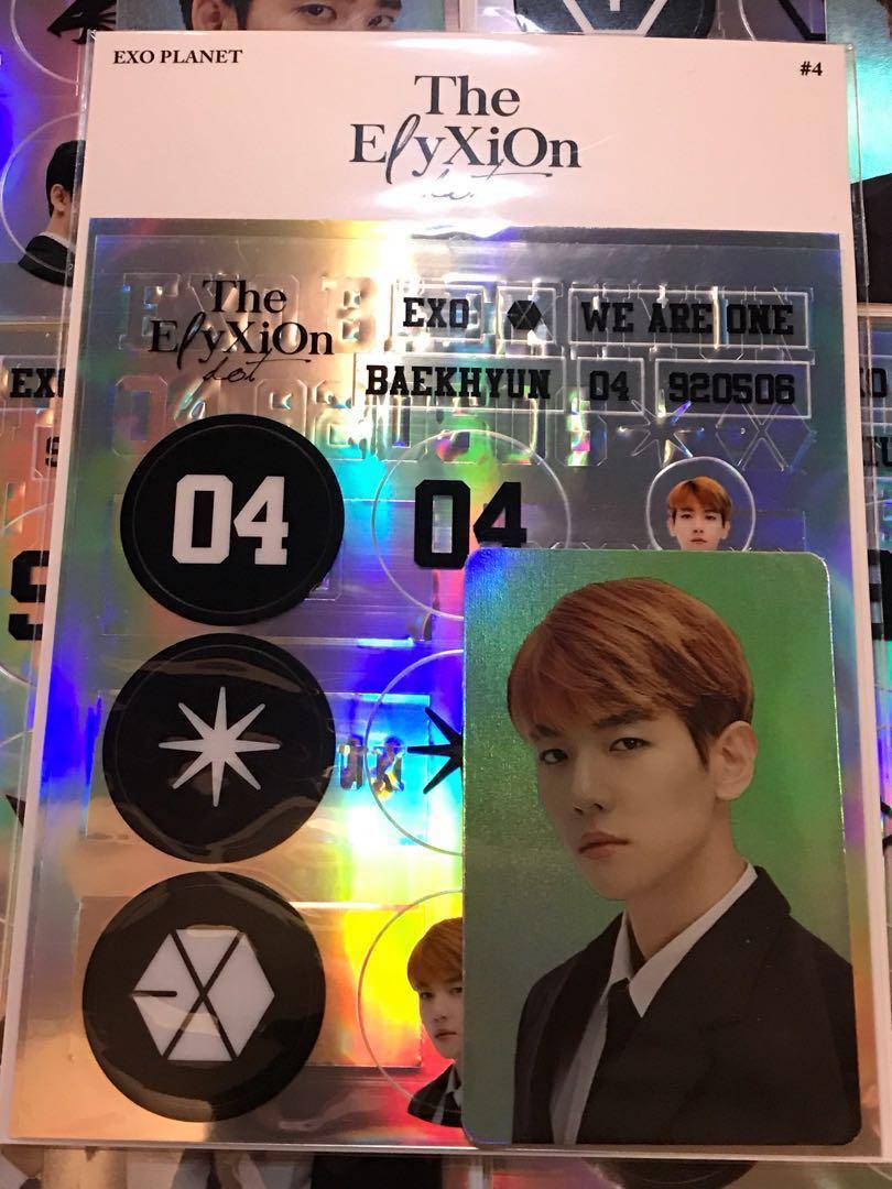 Exo Baekhyun Elyxion Deco Sticker Hologram Photocard