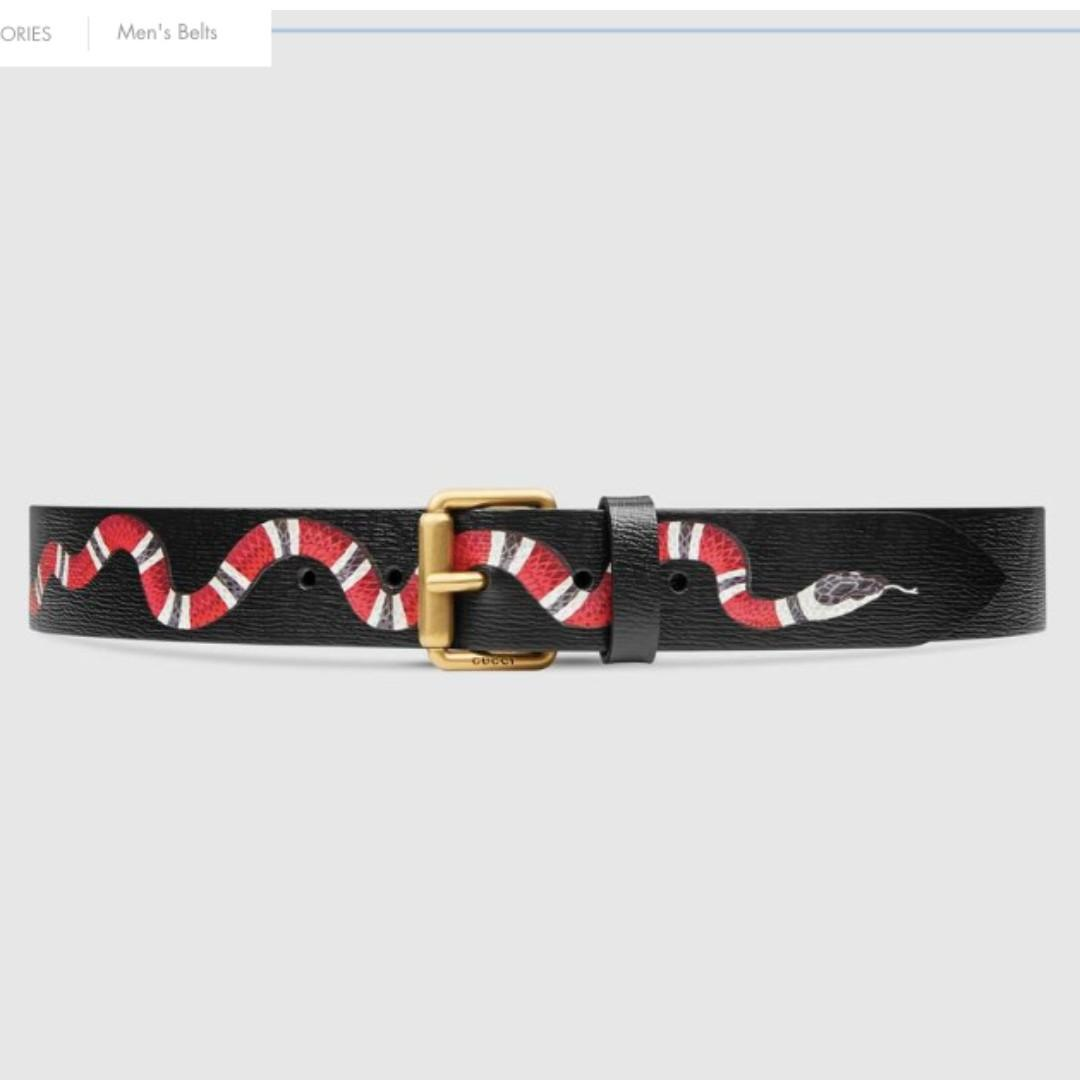 GUCCI LEATHER BELT WITH SNAKE PRINTING SIZE 85