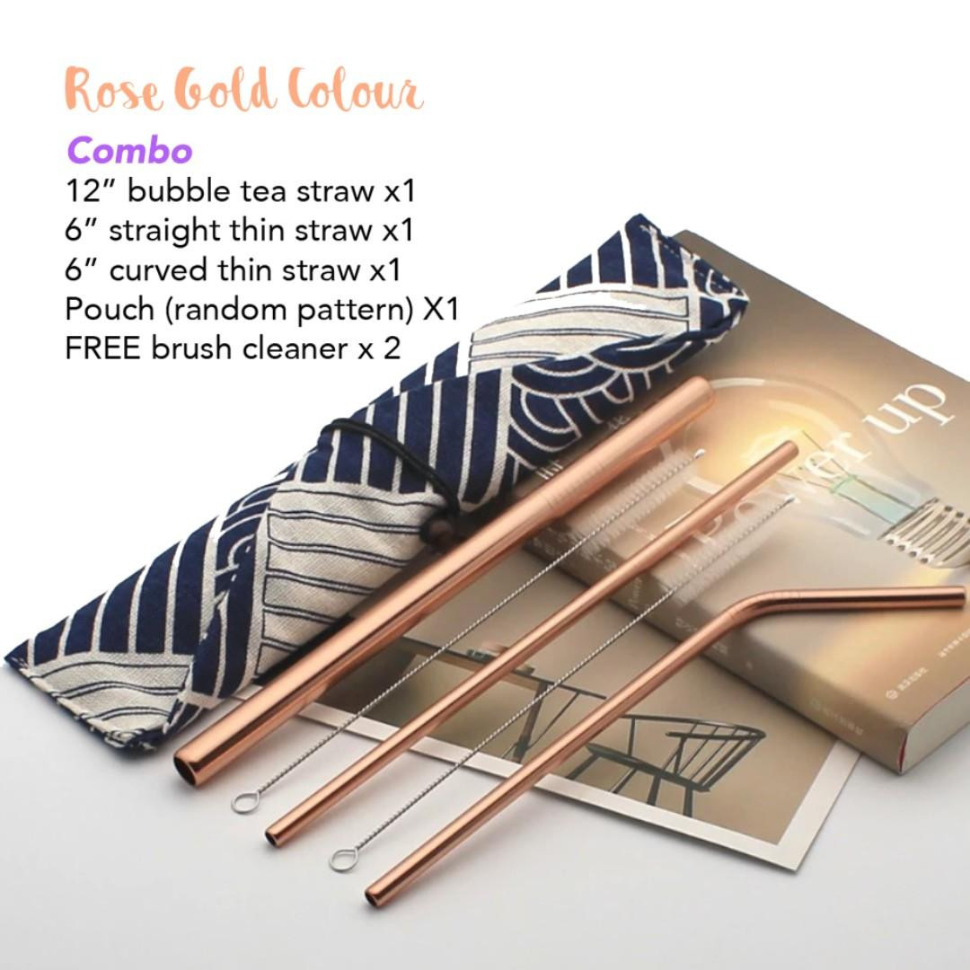 Metal reusable straws - Rose Gold, Silver, Gold, Home
