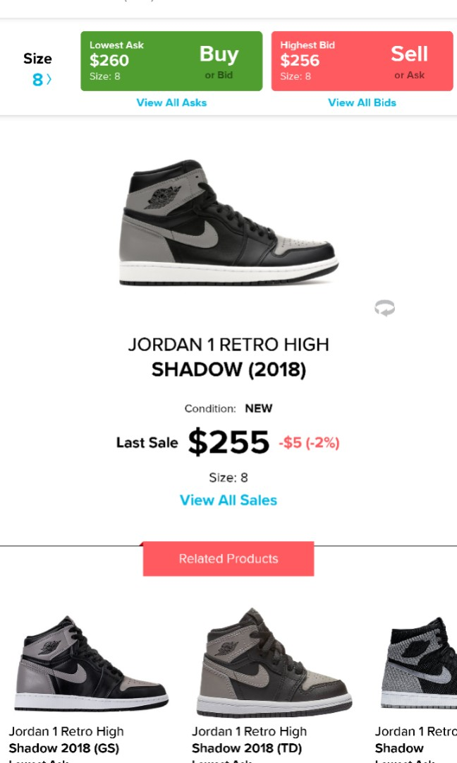f63b8d447623 Nike Air Jordan 1 Shadow US8