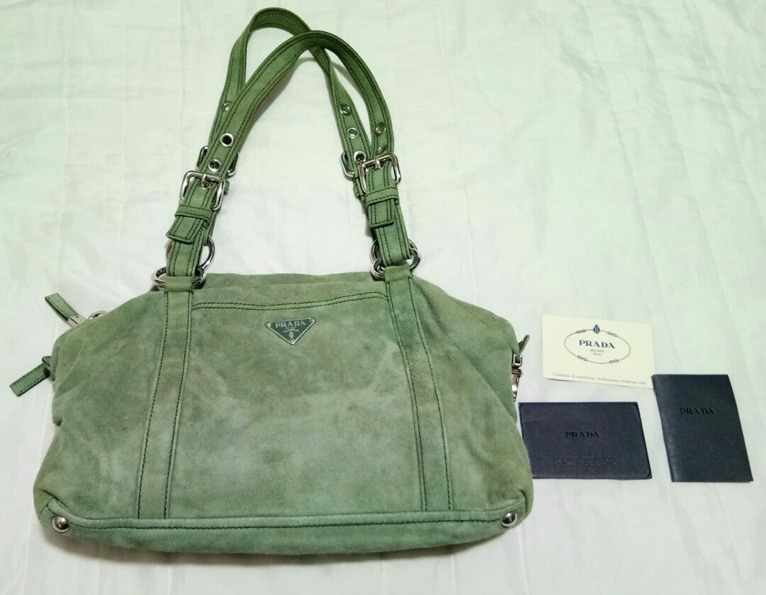 3c99a93fe5 Prada suede shoulder bag