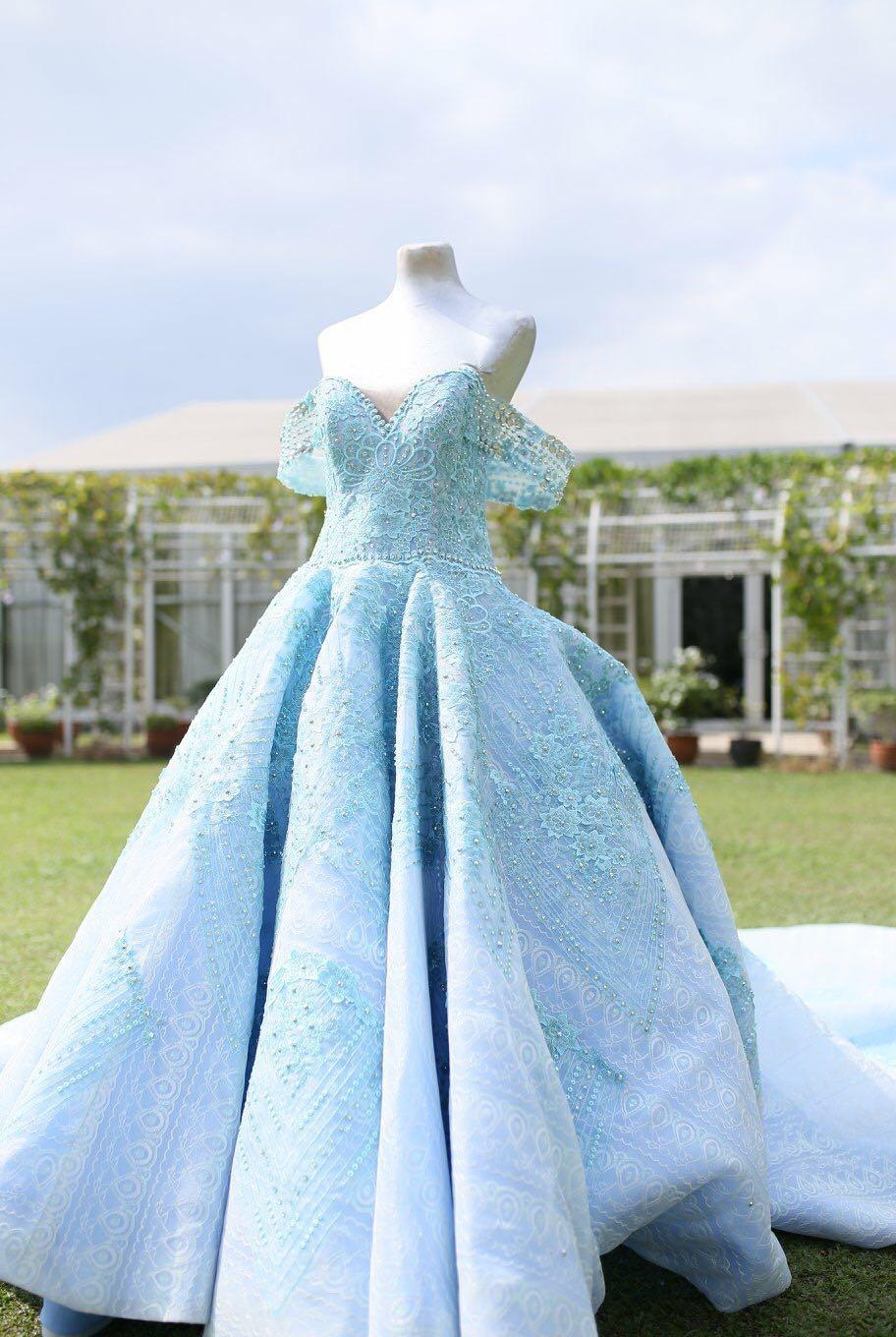 Prom/Debut powder blue ball gown with long train for rent, Women's Fashion,  Dresses & Sets, Traditional & Ethnic wear on Carousell