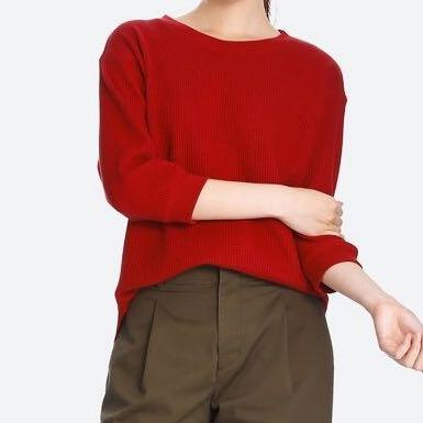d9f55b9e9eb45 uniqlo Waffle Crew Neck 3 4 Sleeve T-shirt Red