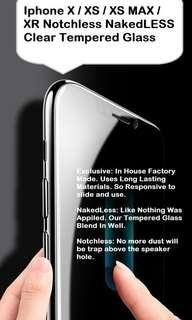 🚚 Fast: Iphone XS Max Notchless Nakedless Clear Tempered Glass
